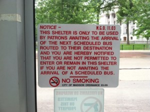 Homeless bus stop